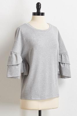 heather gray ruffle sleeve top