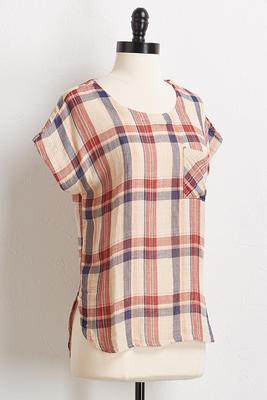 natural plaid high-low top