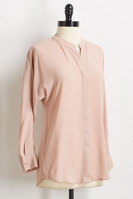solid v-neck blouse