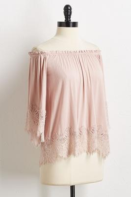 lace trim off the shoulder top