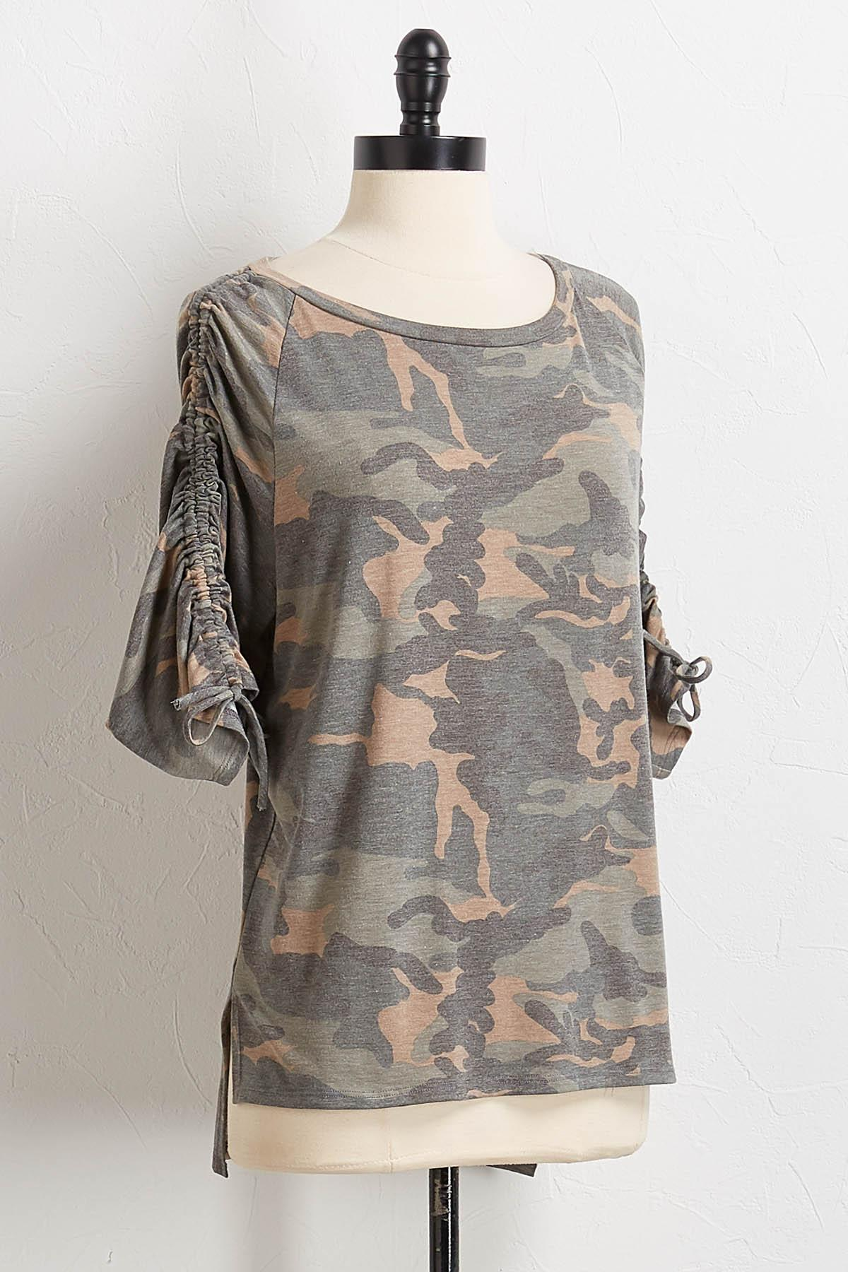 Ruched Camo Tee