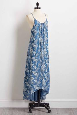 chambray palm maxi dress