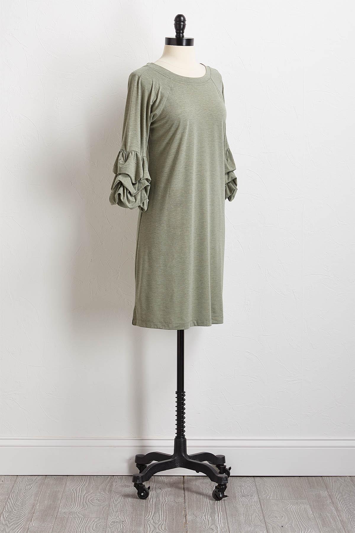 Shimmer Green Balloon Sleeve Dress