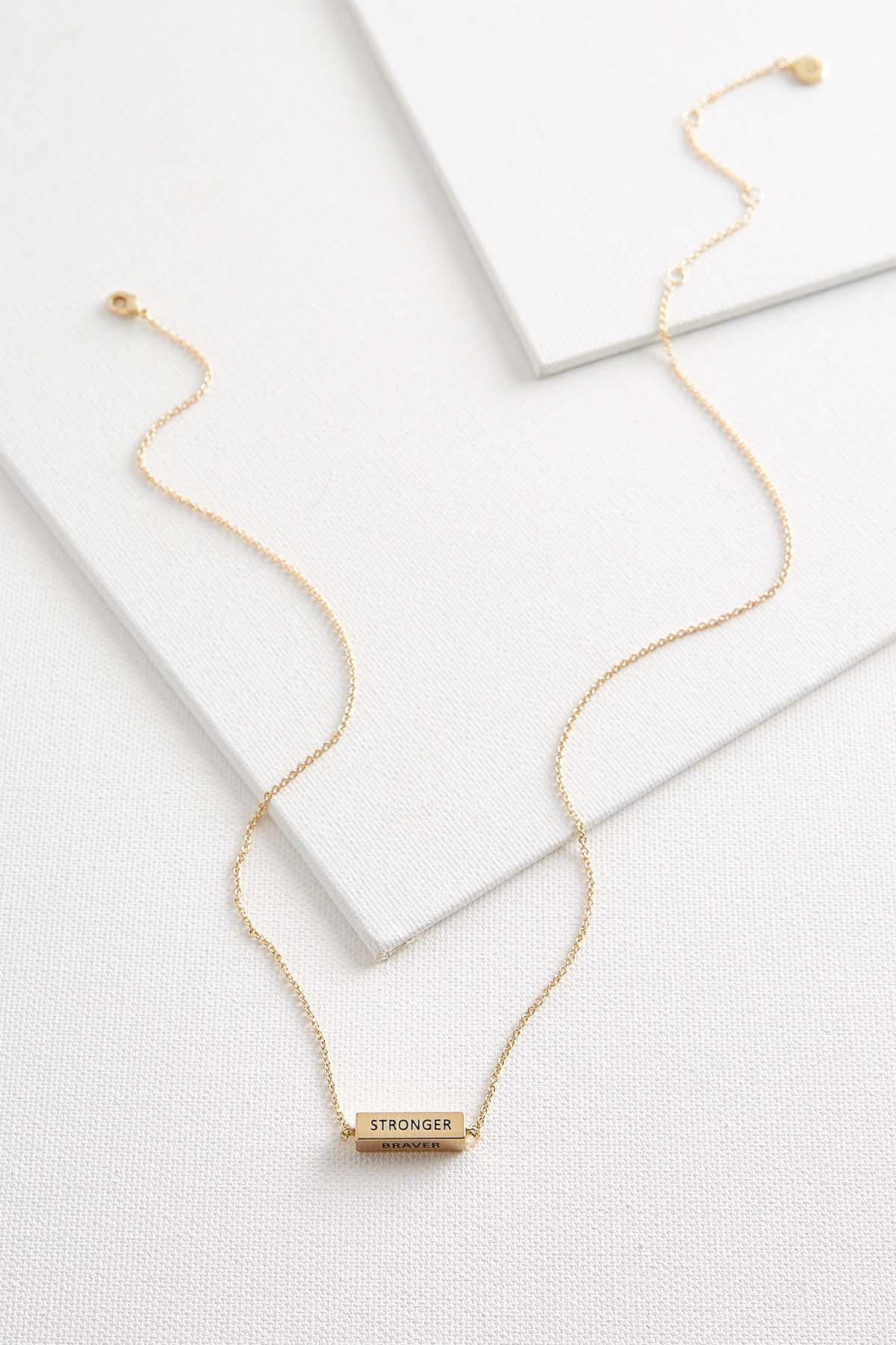Stronger Braver Bar Necklace