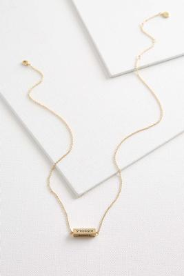 stronger braver bar necklace