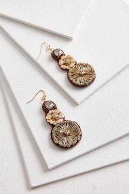 tiered metal flower earrings