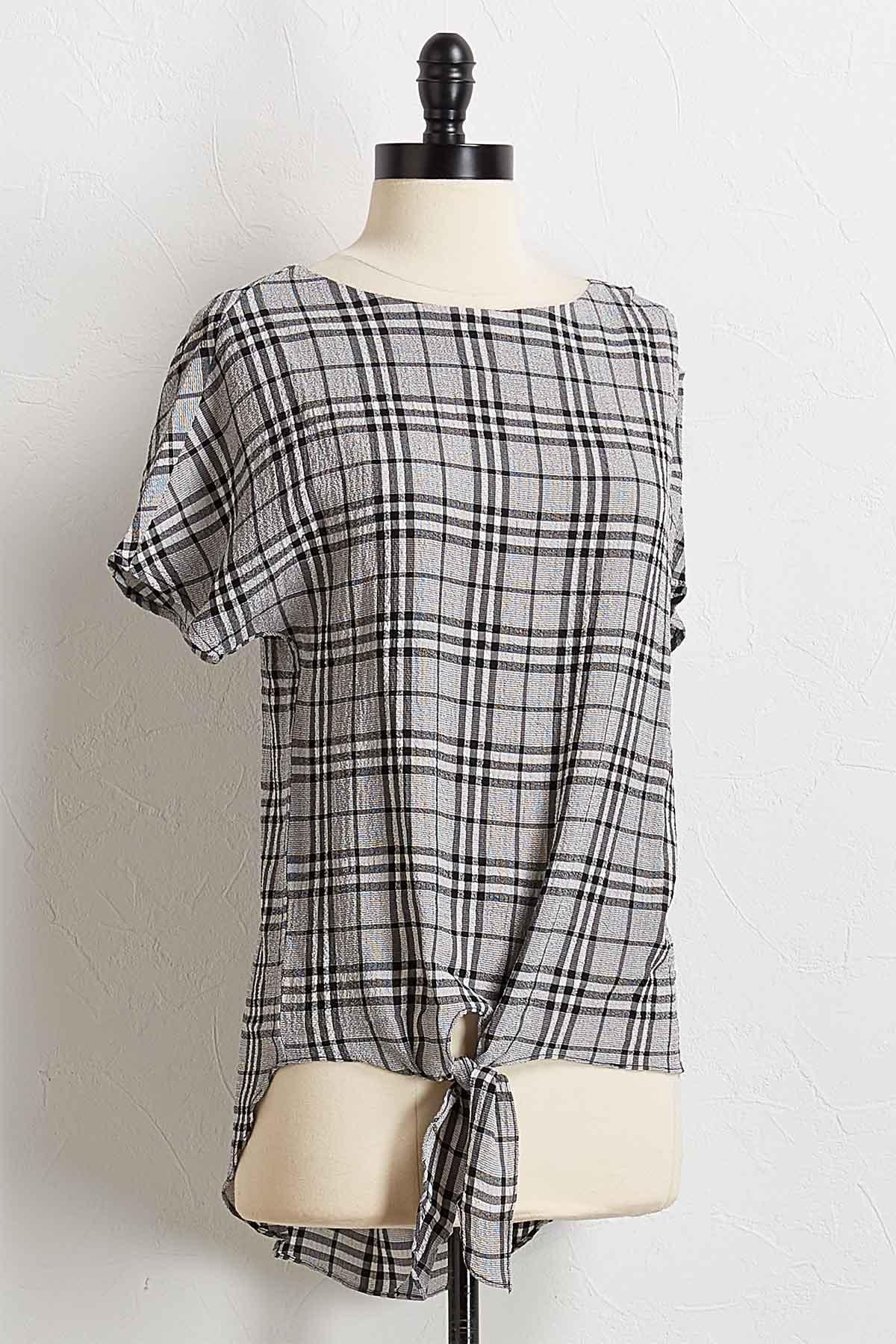 Gauze Checkered Top