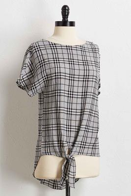 gauze checkered top