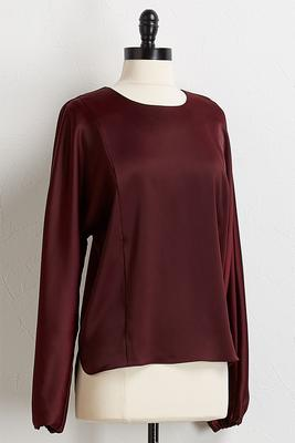 wine satin woven top