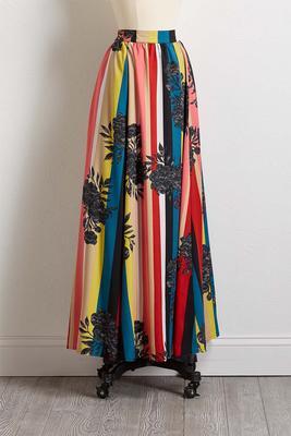 noir floral stripe maxi skirt