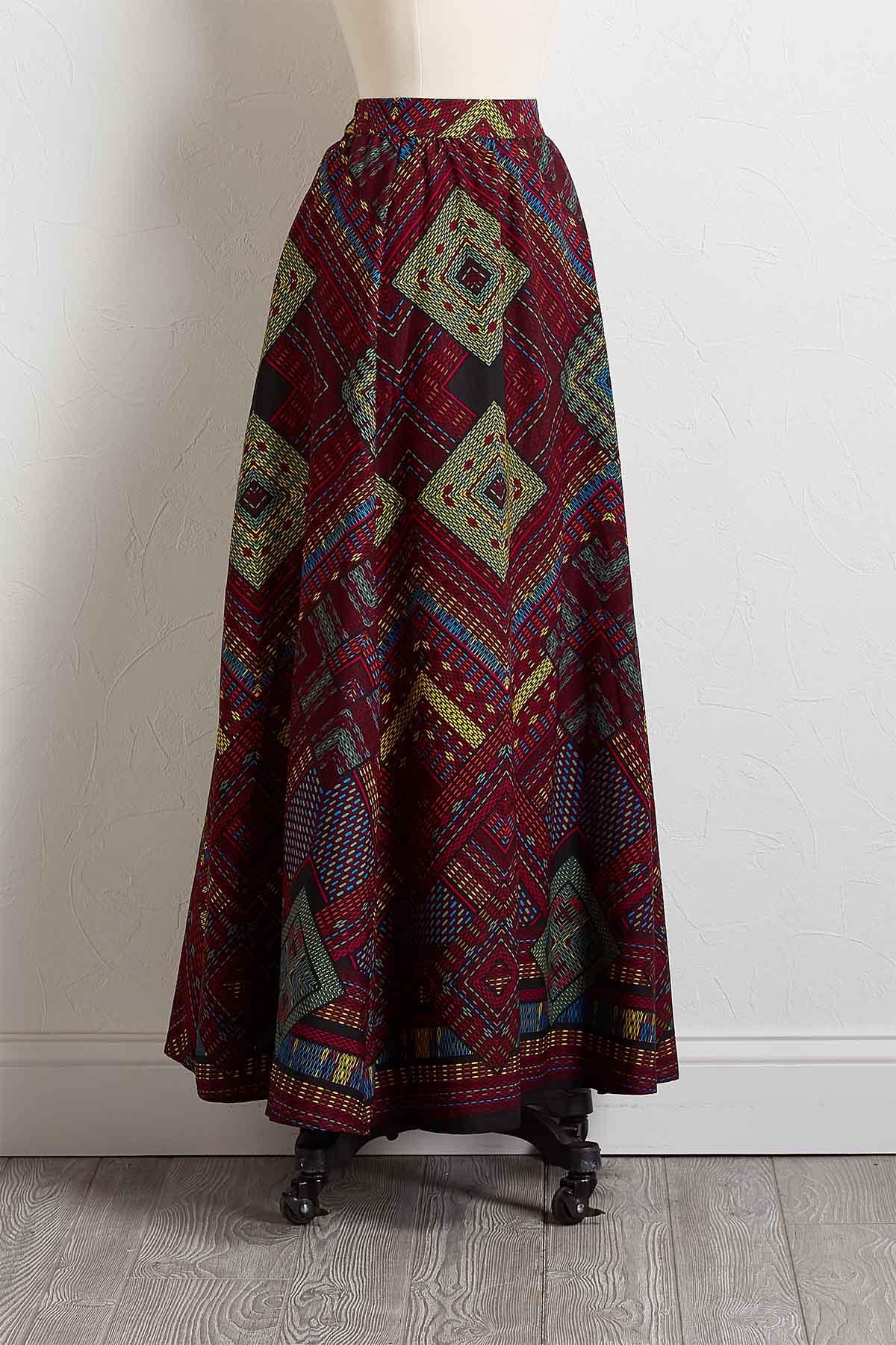 Retro Diamond Maxi Skirt