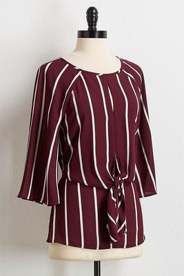 wine stripe tie front top