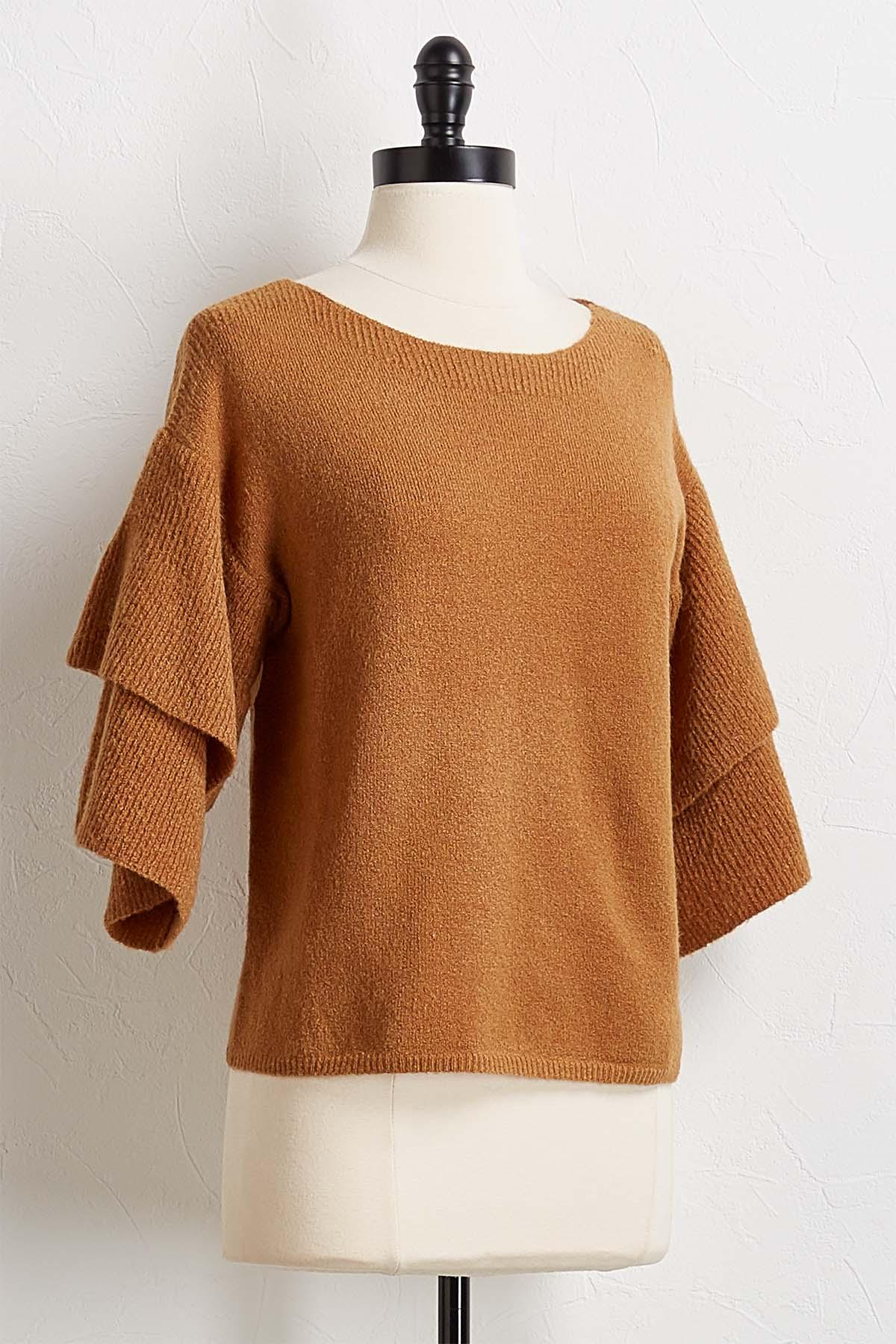 Cognac Tiered Sleeve Sweater