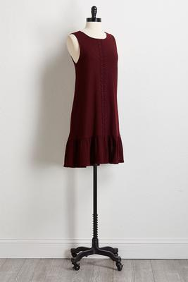 wine flounce hem shift dress