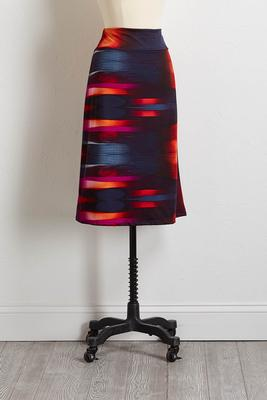 multi sky stripe midi skirt