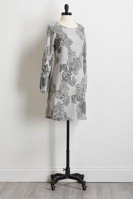 puff paisley shift dress