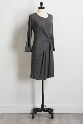 gray side tie dress