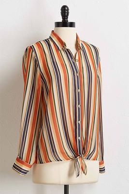 multi striped tie front shirt