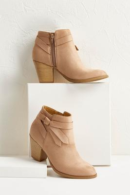 knot faux suede ankle boots