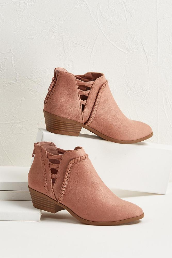 Braided Faux Suede Ankle Boots