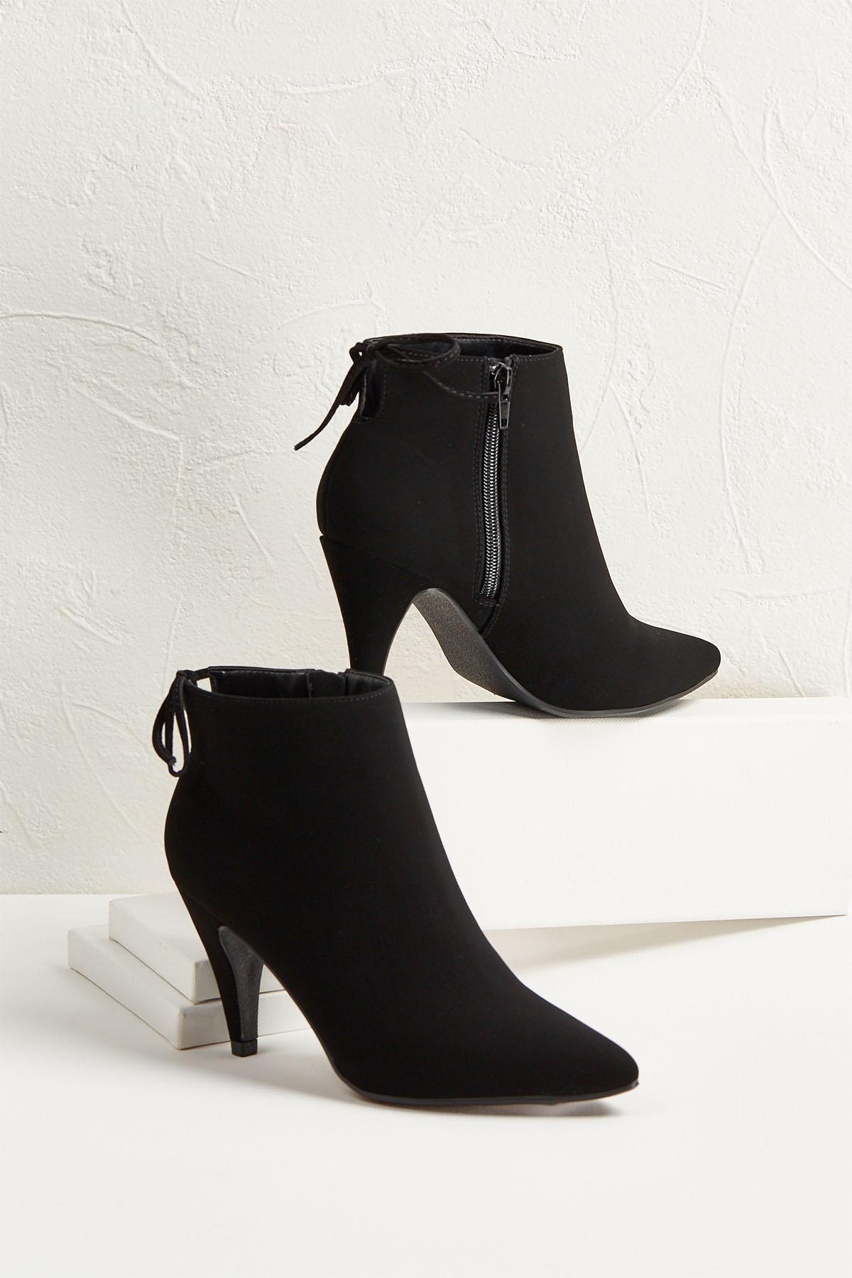Faux Suede Tie Back Ankle Boots