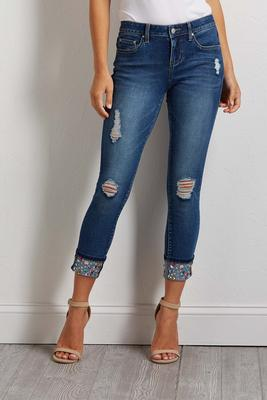 jeweled cuff distressed jeans