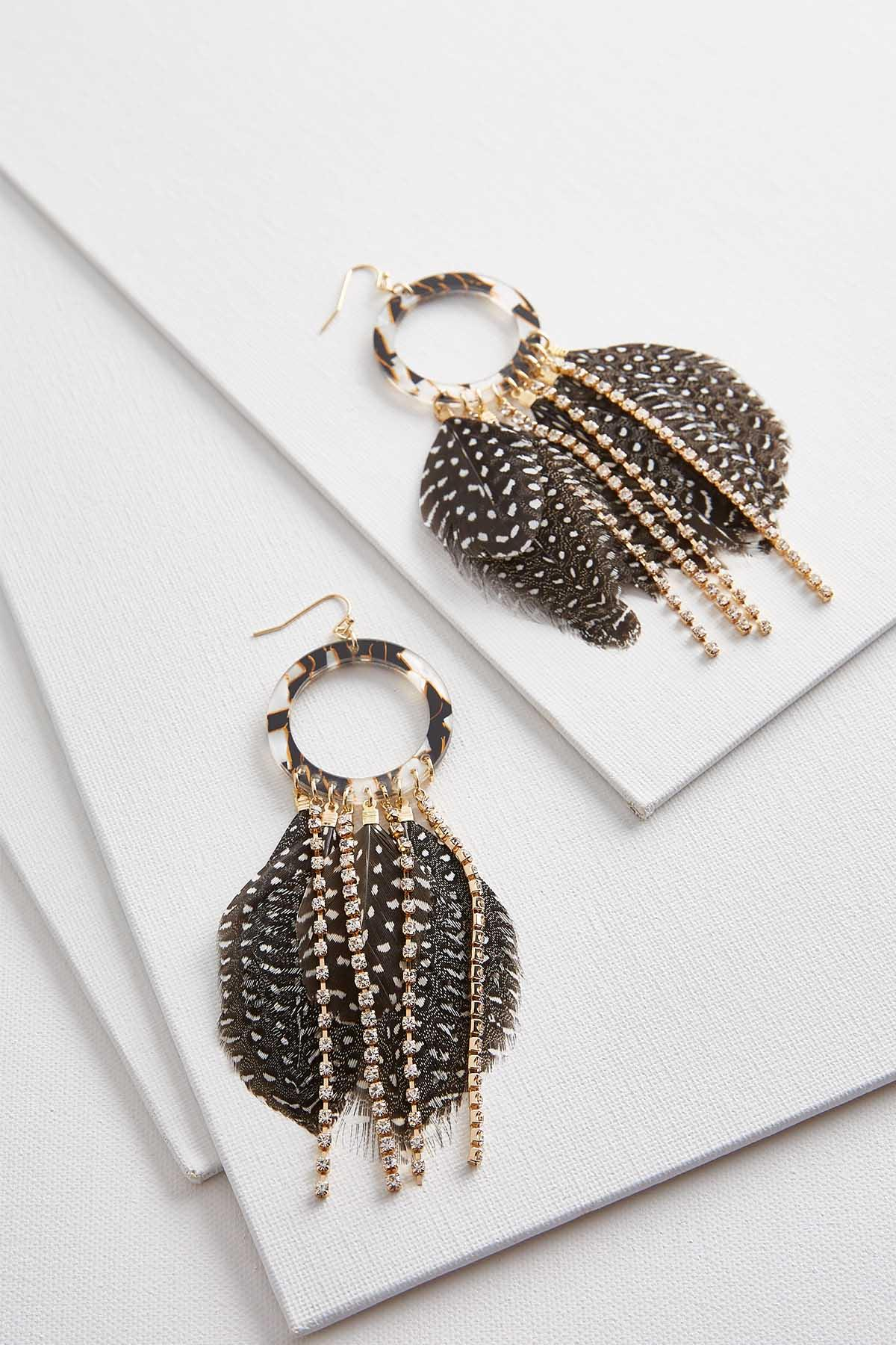 Lucite Circle Feather Earrings
