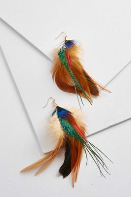 mixed feather dangle earrings