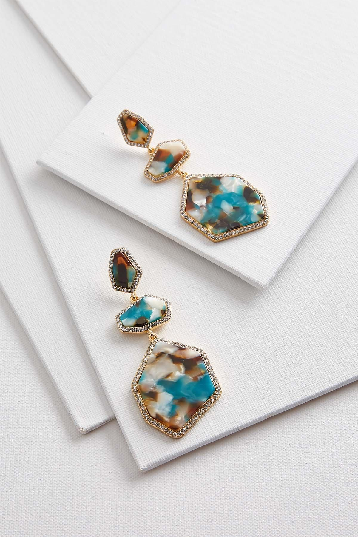 Large Teal Pave Dangle Earrings