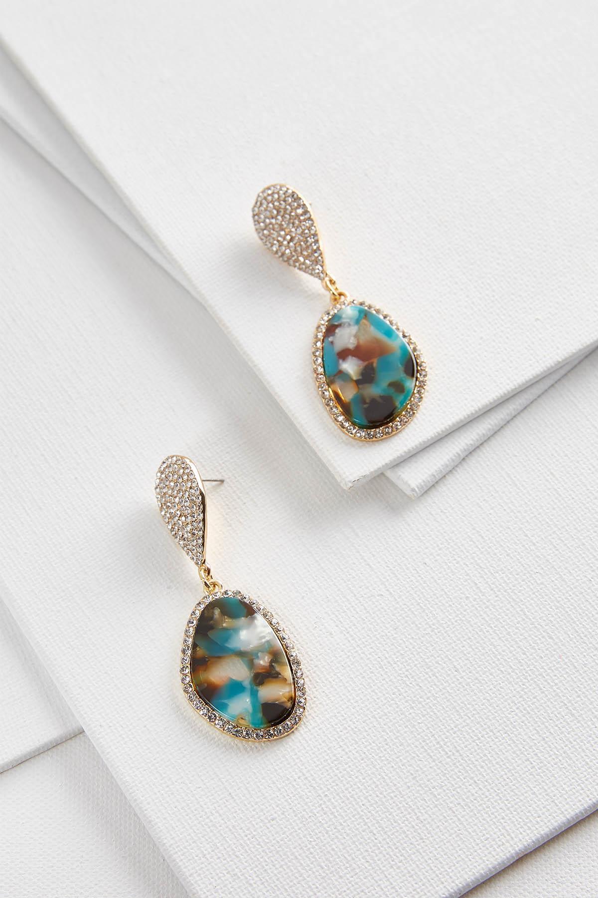 Teal Pave Dangle Earrings