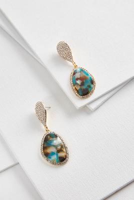 teal pave dangle earrings