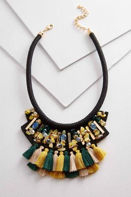 beaded fabric bib necklace
