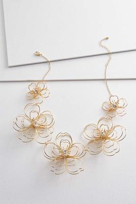 floral wire bib necklace