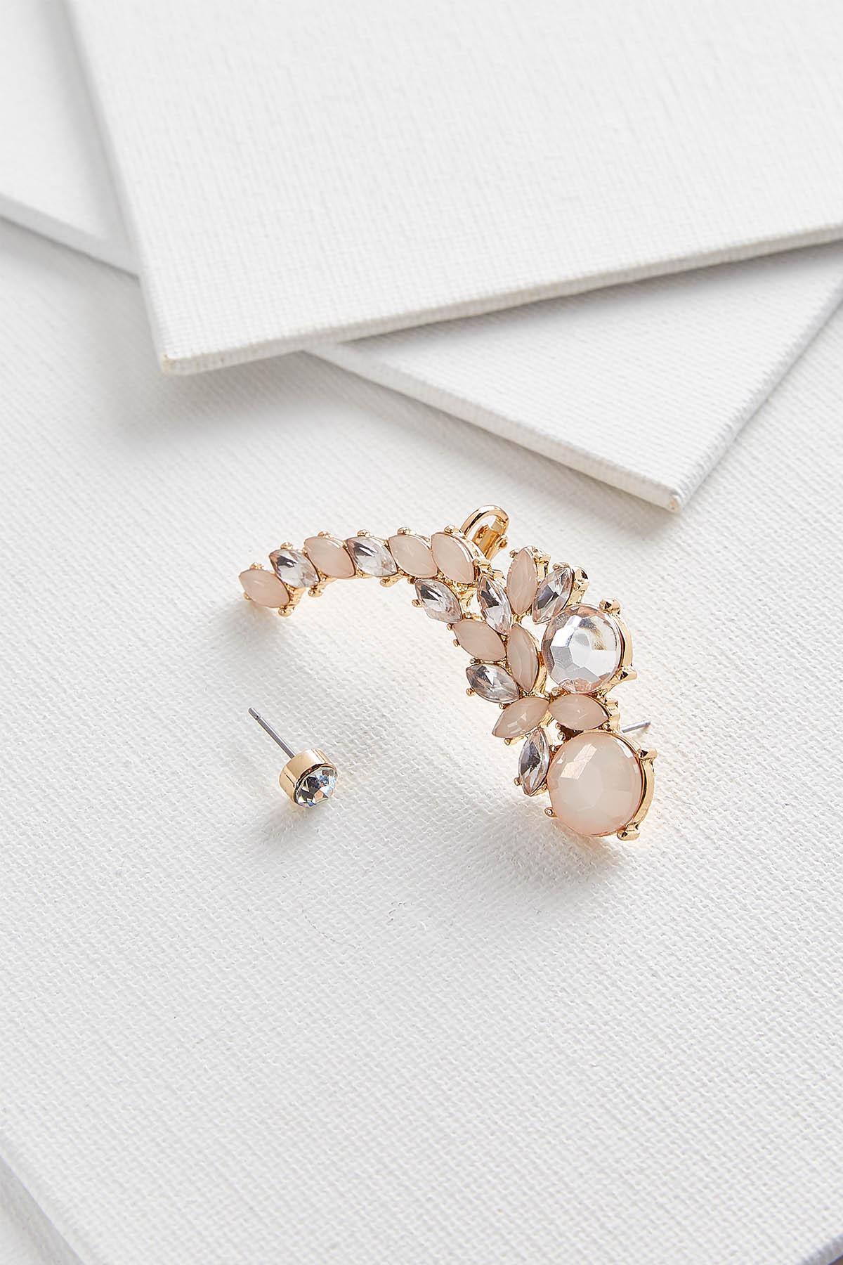 Blush Jeweled Cuff Earrings