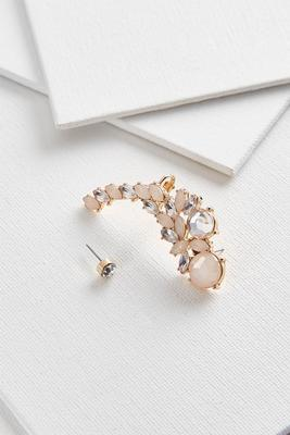blush jeweled cuff earrings