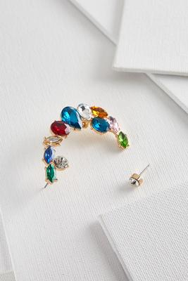 multi color jeweled cuff earrings