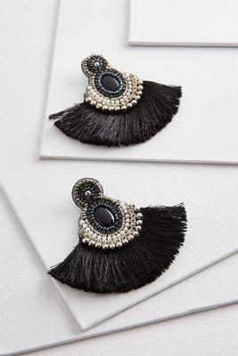 beaded fan fringe earrings