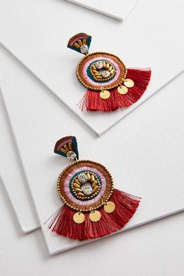 circular embellished tassel earrings
