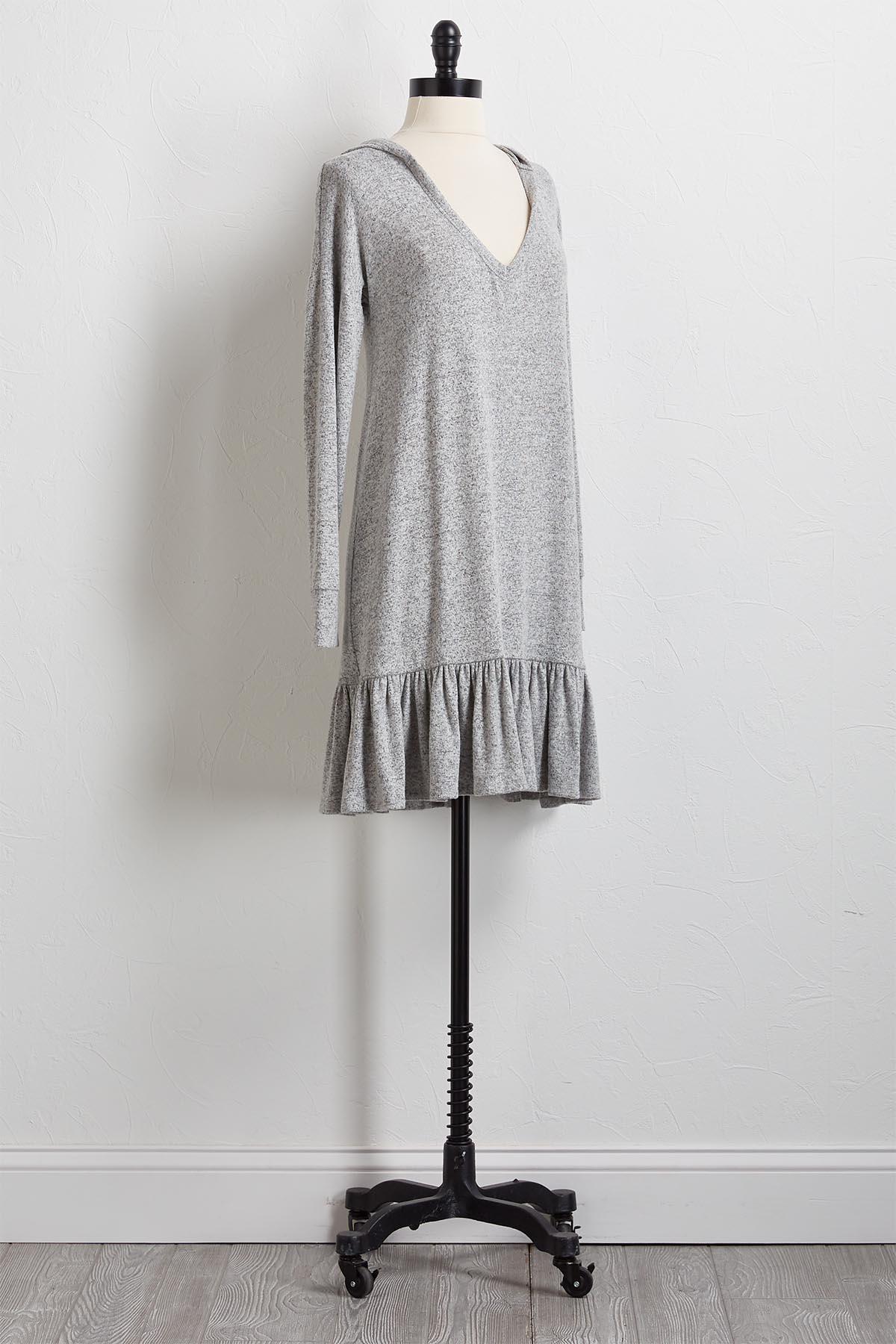 Flounced Hem Hoodie Dress