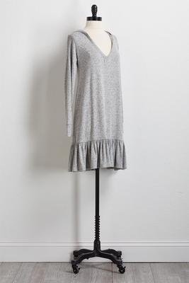 flounced hem hoodie dress