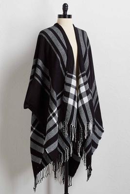 contrast plaid kimono sweater