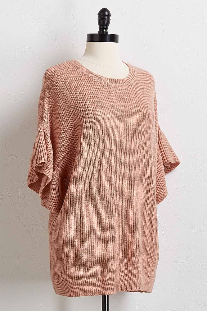 Ruffled Sleeve Sweater Tunic