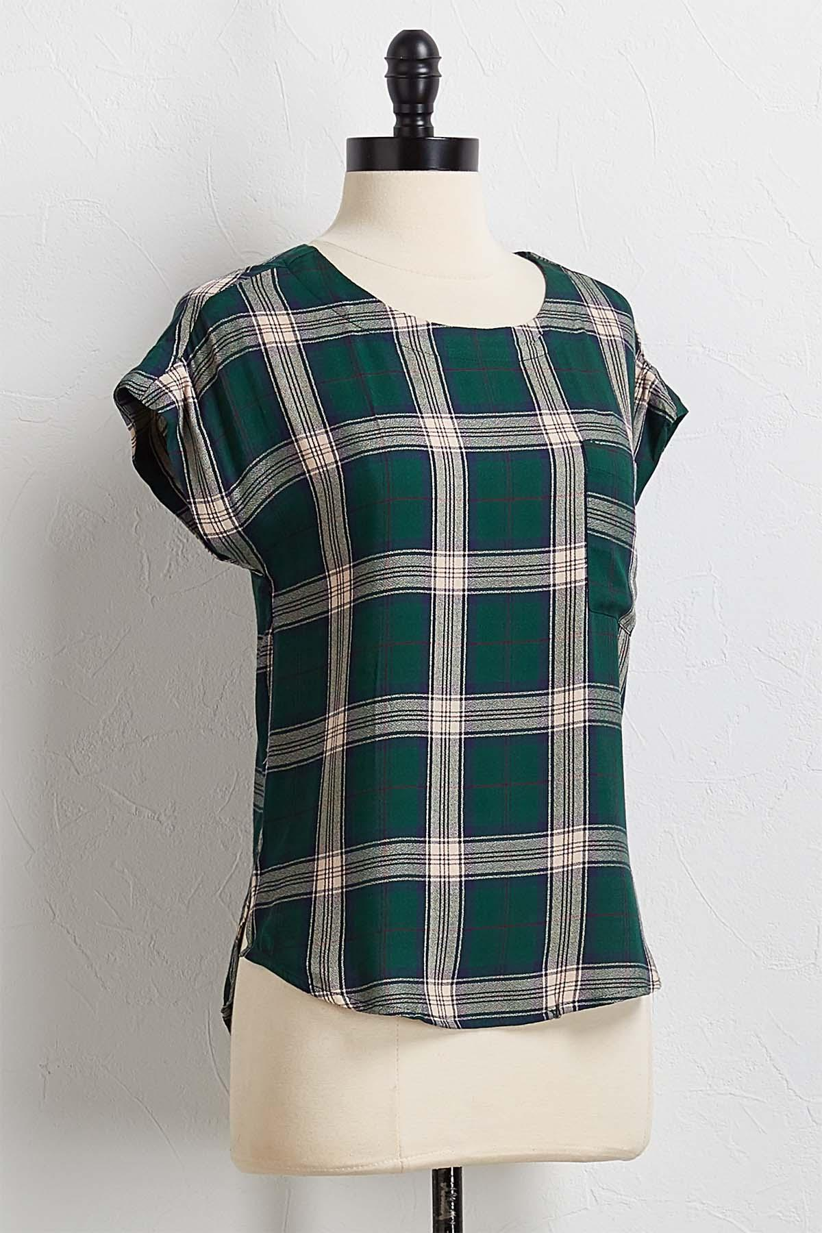 Plaid High- Low Top