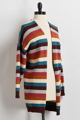 rustic multi stripe cardigan sweater