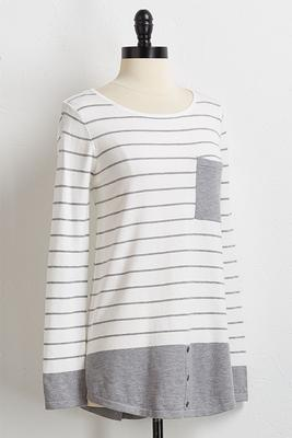 gray striped tunic sweater