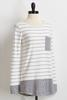Gray Striped Tunic Sweater