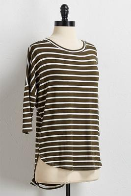 stripe high-low tee