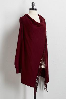 draped fringe asymmetrical cardigan
