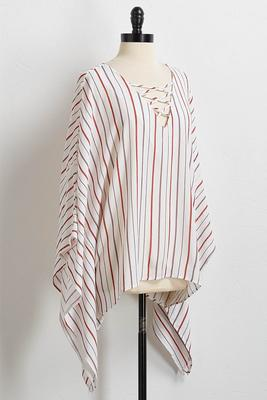 ivory stripe poncho top