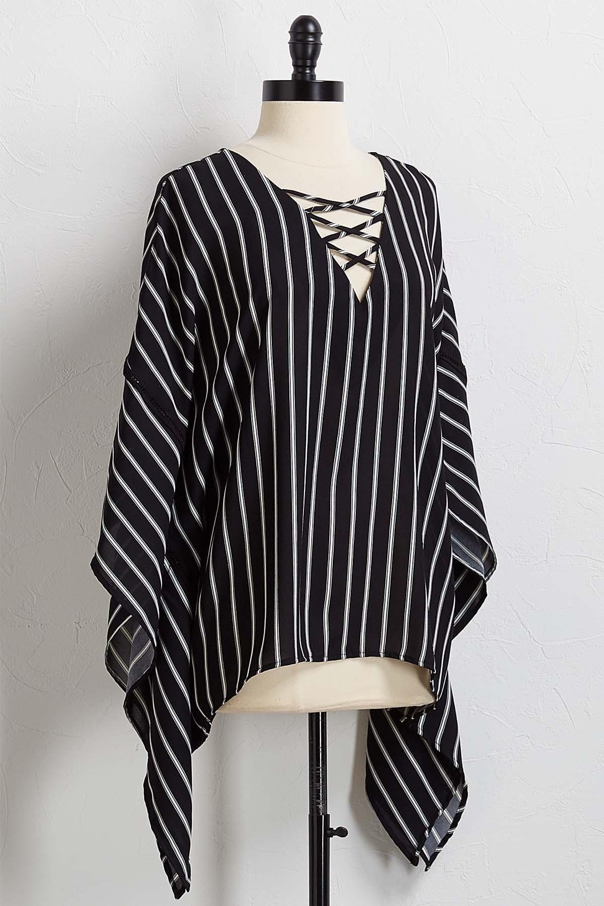 Stripe Poncho Top